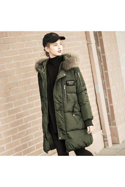唐狮冬季加厚羽绒服女中长款宽松大毛领羽绒服女韩版面包服女