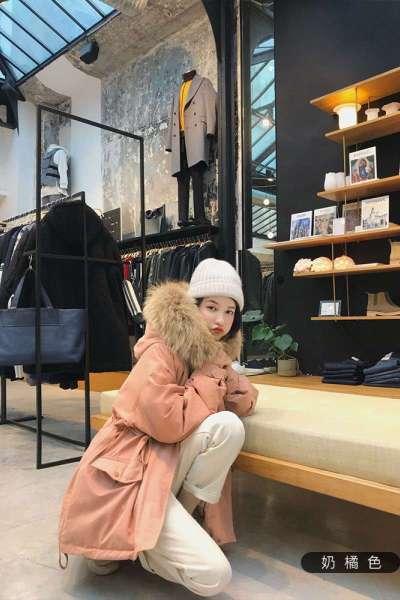 佐露絲RALOS短款收腰大毛领羽绒服女2019冬新款韩版白鸭绒加厚时尚