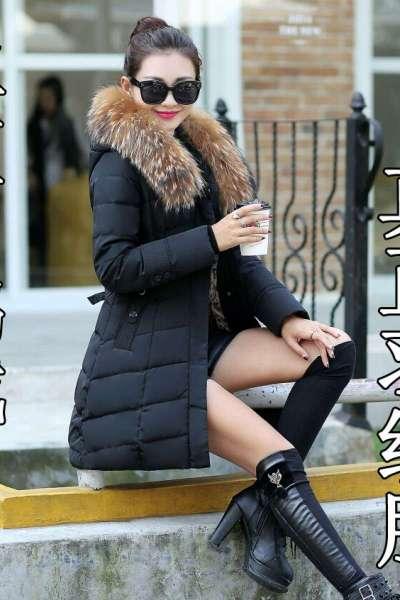 遇见衣姿白鸭绒新款时尚中长款羽绒服女显瘦大毛领加厚羽绒服女