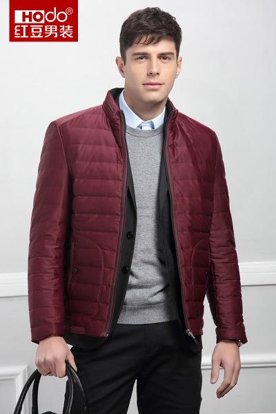 HODO红豆男装 羽绒服冬季男士立领纯色柔软轻便修身羽绒服
