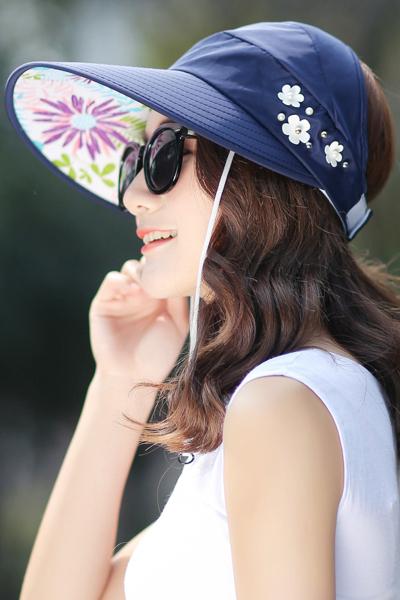 2018年新款防晒遮阳帽子女士可折叠太阳帽遮脸防紫外线夏季户外百搭 通用 诺妮梦