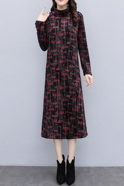 愫惠君冬季加厚修身显瘦过膝裙妈妈装正式场合连衣裙贵夫人加绒打底裙潮8635