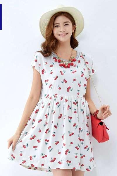 唐狮夏装新款连衣裙女樱桃印花罗纹领宽松版连衣裙