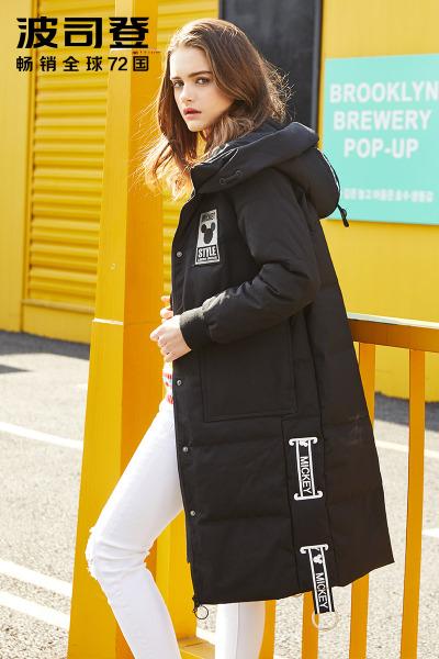 波司登BOSIDENG女士冬季常规款迪士尼系列米奇时尚中长款羽绒服 女B70142168D