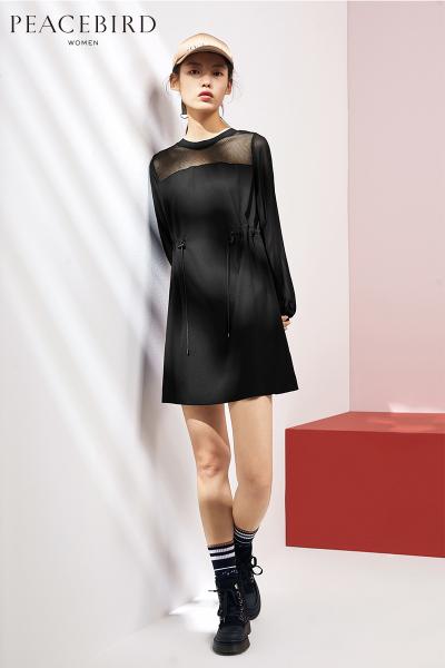 中长款连衣裙太平鸟女装2019春装新款黑色长袖连身裙