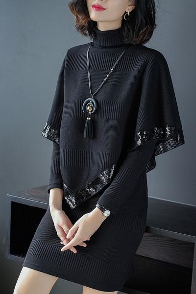 芷臻zhizhen秋季2018新款女装名媛小香风斗篷披肩修身针织长袖连衣裙