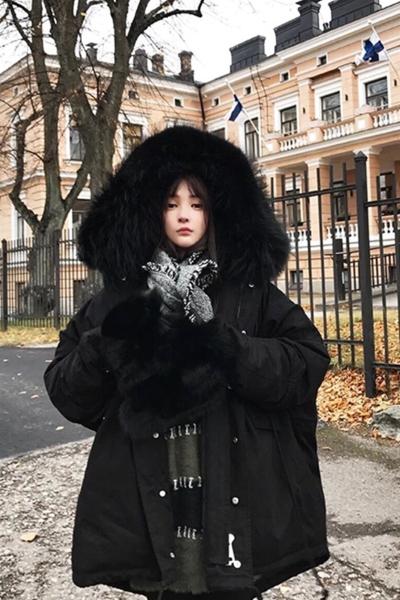 佐露絲RALOS2019时尚羽绒服女中长款韩版新款收腰显瘦加厚超大毛领潮