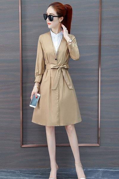与牧秋装女2018新款长袖秋连衣裙气质韩版时尚中长裙子007