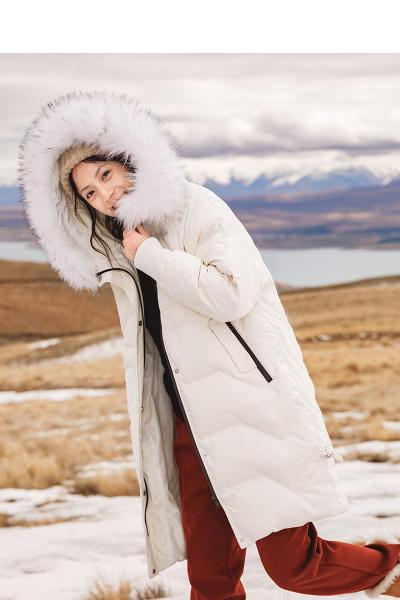 INMAN茵曼2018冬装新款INS风少女心毛领连帽显瘦长款羽绒服女