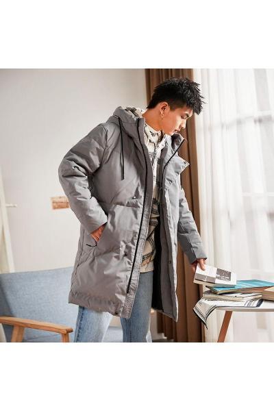 唐狮冬季羽绒服中长款男韩版连帽加厚外套潮