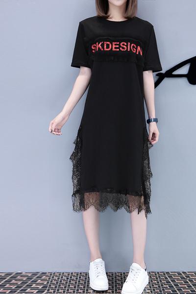 2019夏季新款 女装字母印花蕾丝开叉中长款短袖T恤连衣裙 莎丞