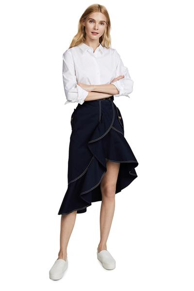 HAODUOYI荷叶边不规则下摆明线纽扣装饰设计感高腰女神半身裙女士秋季中长裙