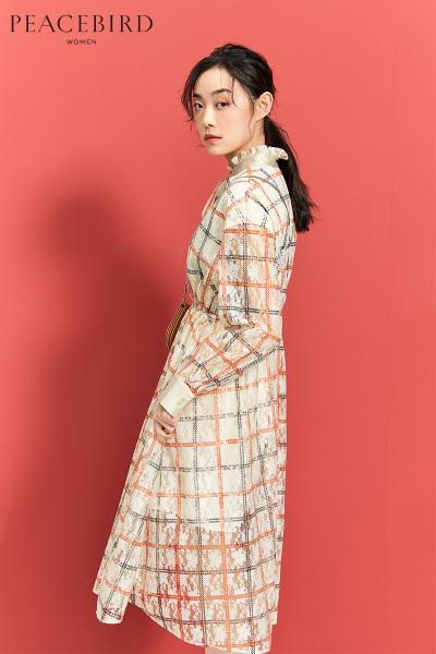 格纹蕾丝连衣裙收腰中长款韩版春装2019新款仙女裙chic温柔娃娃裙