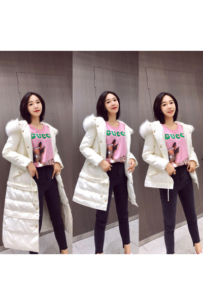 与牧2018冬季新款韩版羽绒服女中长款过膝加厚时尚宽松韩国冬外套8809