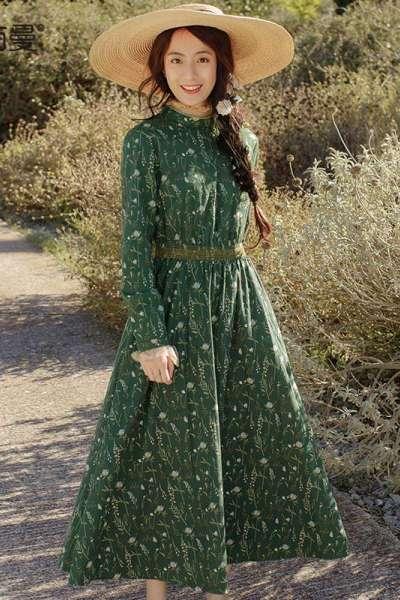 茵曼2018女装春秋新款立领收腰显瘦气质绿色碎花连衣裙小清新中长裙