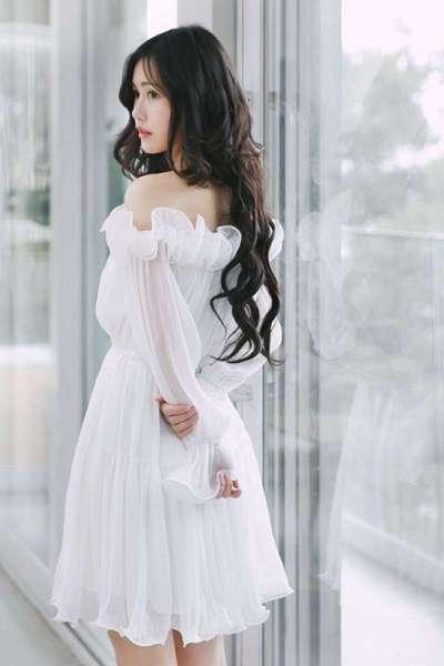 潮流女装诺里 仙女裙白色甜美公主裙成人长袖一字领雪纺露肩连衣裙女秋闪潮