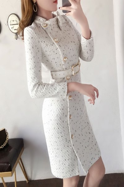 与牧法式维多利亚复古裙秋冬新款气质收腰显瘦加厚毛呢连衣裙子女8670