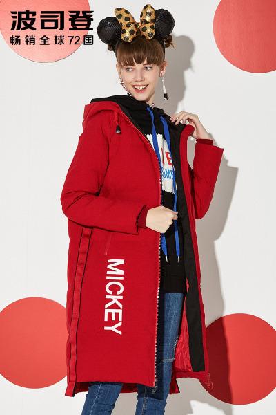 波司登BOSIDENG女士冬季常规款迪士尼系列米奇冬运动中长款羽绒服 女B70142170D