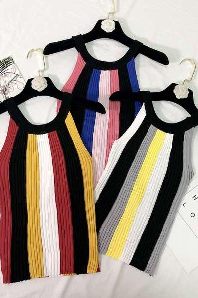 七斓夏季圆领彩色条纹针织背心露肩性感吊带修身无袖打底衫T恤夏外穿