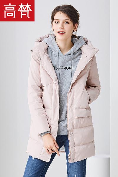 高梵GOLDFARM2018冬季季新款女装羽绒服女反季中长款加绒连帽甜美可爱女士羽绒外套韩版潮