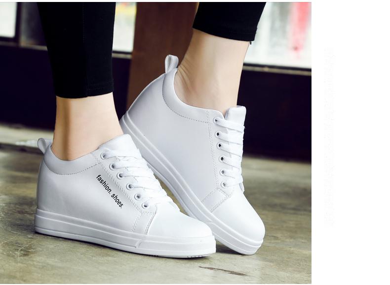 南极人秋季板鞋女鞋小白鞋内增高鞋女白鞋坡跟