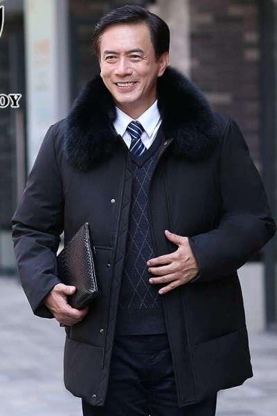 花花公子羽绒服男中长款冬季加厚保暖中老年羽绒服可脱卸毛领爸爸装外套B203-13668