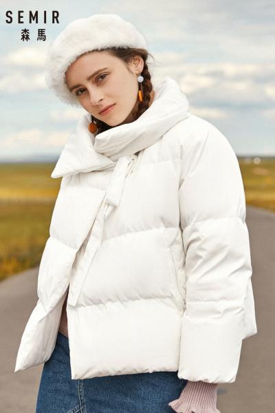 Semir森马短款羽绒服女冬季翻领宽松外套韩版个性口袋冬装潮