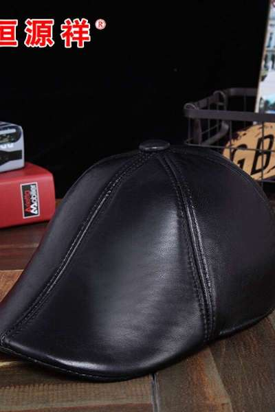 【官方正品】恒源祥秋冬季真皮帽子男女鸭舌帽中老年前进帽薄款羊皮贝雷帽黑色