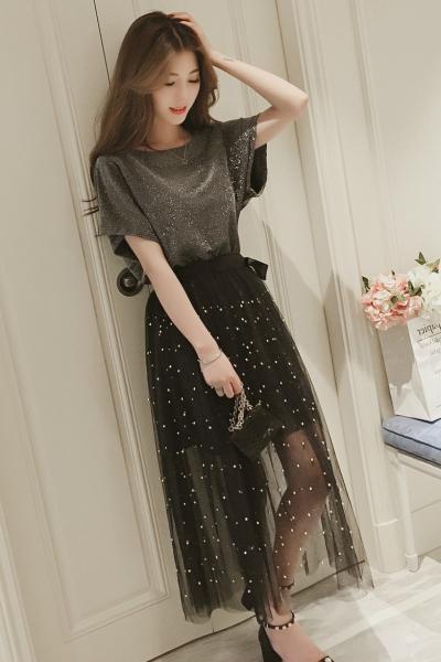 Mtiny两件套网纱连衣裙女夏季新款韩版中长款a字裙半身裙套装裙子