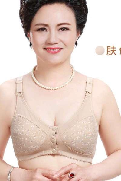 中老年文胸前扣胸罩大码全棉妈妈纽扣内衣运动背心式女士