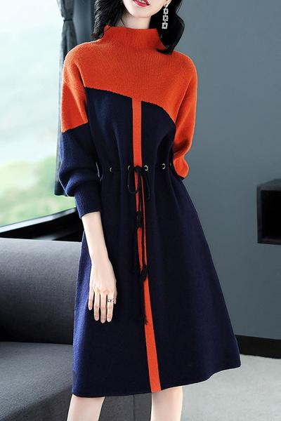 子沫雨JMOORY2018秋季新款气质针织裙收腰毛衣中裙时尚连衣裙