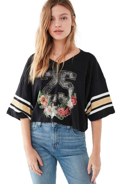 HAODUOYI欧美时尚简约休闲运动字母印花学生款黑色女士夏季常规款T恤