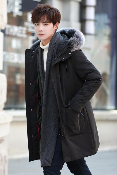丹杰仕(DANJIESHI)冬季韩版连帽中长款羽绒服男修身大码胖子大衣保暖白鸭绒外套
