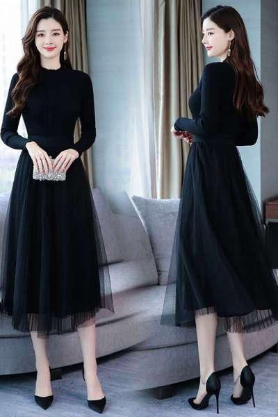 千仙仙高领针织连衣裙女2018秋冬季新款修身显瘦网纱裙子黑色打底长裙