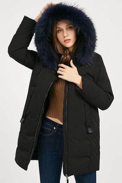 ERAL/艾莱依2018冬装新款大毛领羽绒服中长款加厚保暖617103037