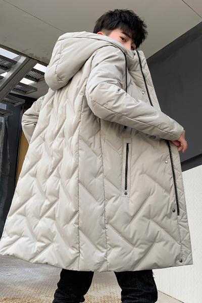 富贵鸟(FUGUINIAO)男士加厚羽绒服中长款韩版时尚青年休闲冬季保暖连帽外套