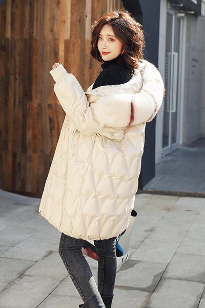 与牧羽绒服女中长款2018新款冬季女装毛领保暖羽绒外套al-8165