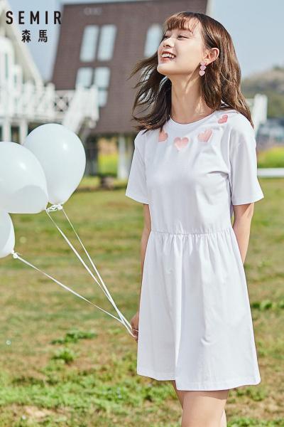 Semir森马连衣裙女夏很仙刺绣小清新甜美娃娃裙收腰圆领白色裙子