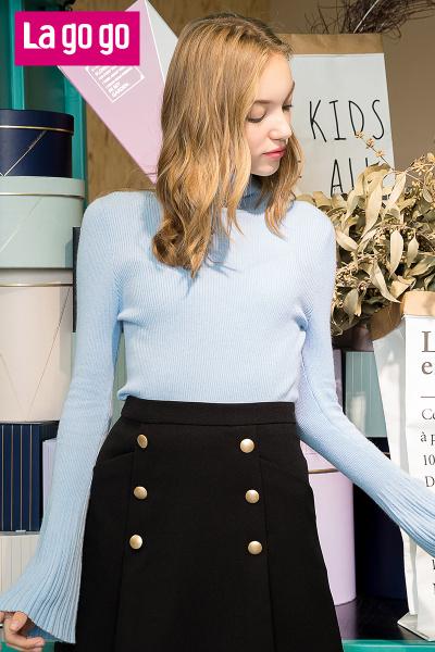 Lagogo2017秋冬季新款黑色双排扣高腰拉链半身裙女A字小黑裙短裙