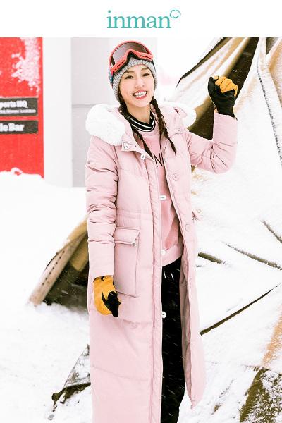茵曼2018冬装新款绒毛领连帽加厚保暖长款羽绒服外套女长过膝粉色
