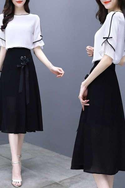 小样传奇 雪纺连衣裙女2019夏春季大码女装修身显瘦中长款气质两件套装裙子