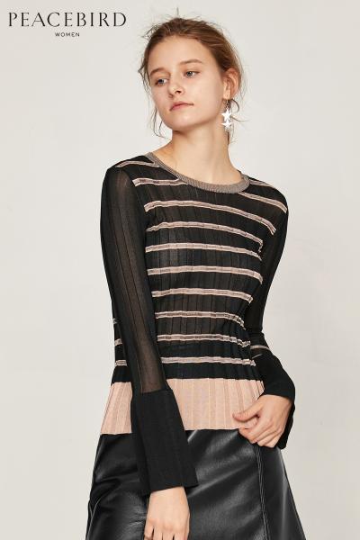 套头针织衫长袖女新款韩版宽松修身上衣条纹长袖套头衫太平鸟女装