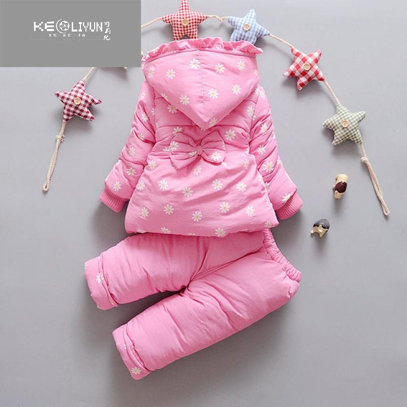 女宝宝棉衣套装两件套新生儿棉服外套冬季女婴