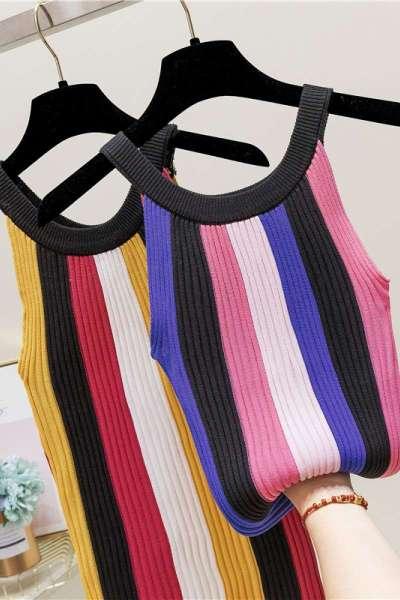 夏季新款彩色条纹挂脖背心女短款修身显瘦薄针织吊带无袖外穿上衣