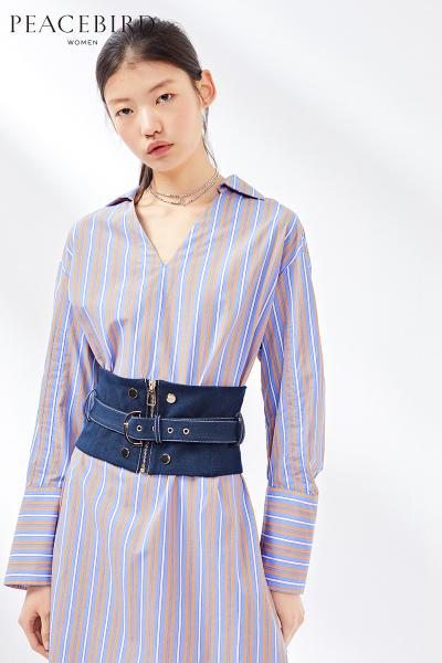 彩色条纹连衣裙中长款2019春季新款长袖时尚腰封连身裙太平鸟女装
