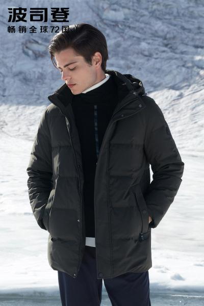 波司登BOSIDENG羽绒服中长款男士冬季可脱卸帽防寒厚外套2018款B80141021