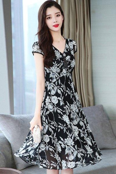 魅言魅语(MeiYanMeiYu)雪纺连衣裙夏天2020新款韩版女装过膝中长款短袖黑色印花连衣裙
