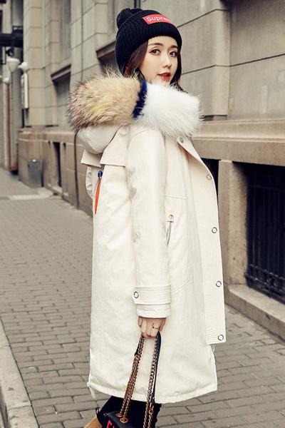 芷臻zhizhen反季女款时尚羽绒服女中长款2018新品韩版潮加厚过膝宽松外套