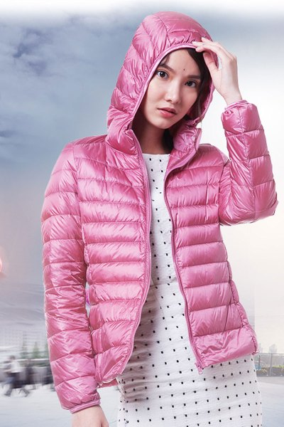 yaloo/雅鹿2018新款冬装时尚短款修身连帽轻薄款羽绒服女韩版外套