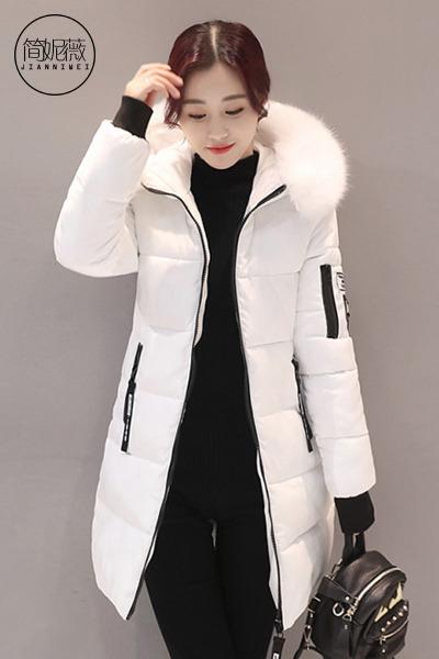 简妮薇(JIANNIWEI)冬季大码加厚中长款外套羽绒服女2018秋冬季新款韩版百搭面包服学生棉袄外套女
